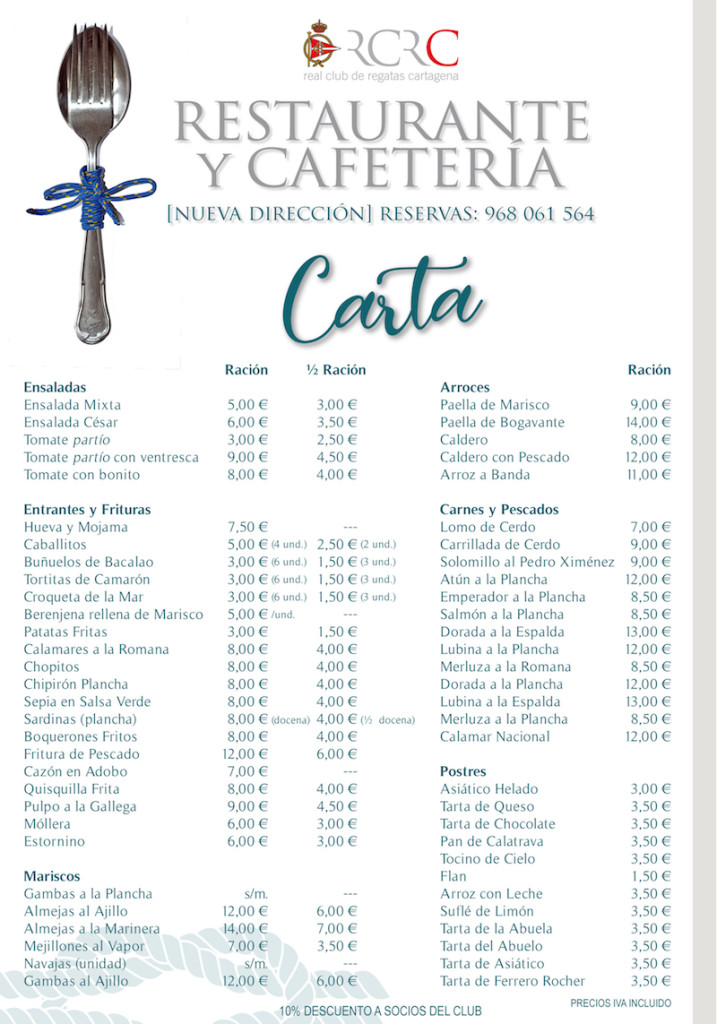 Carta restaurante telf