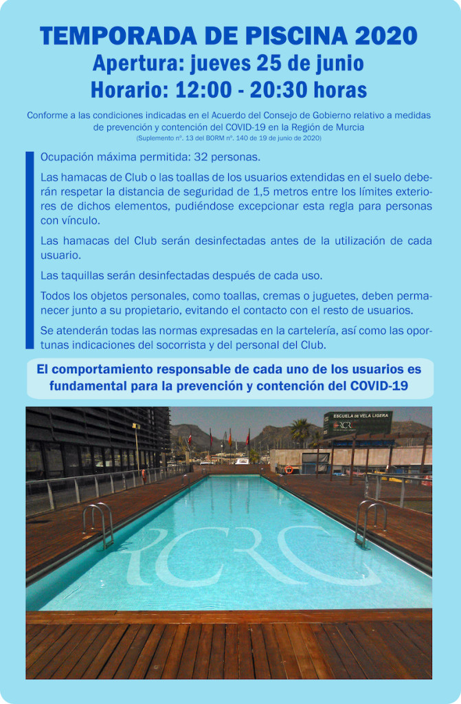 Cartel apertura piscina 2020
