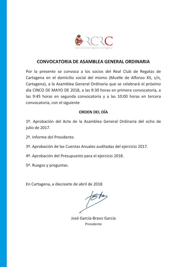 Convocatoria Asamblea RCRC 2018