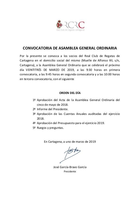 Convocatoria Asamblea RCRC 2019