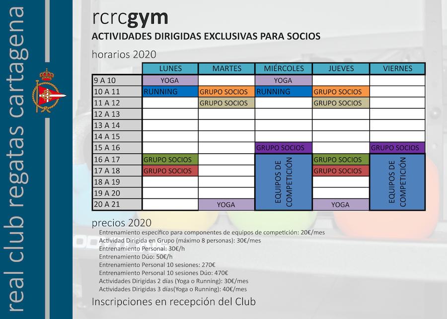 Horario gym 2020