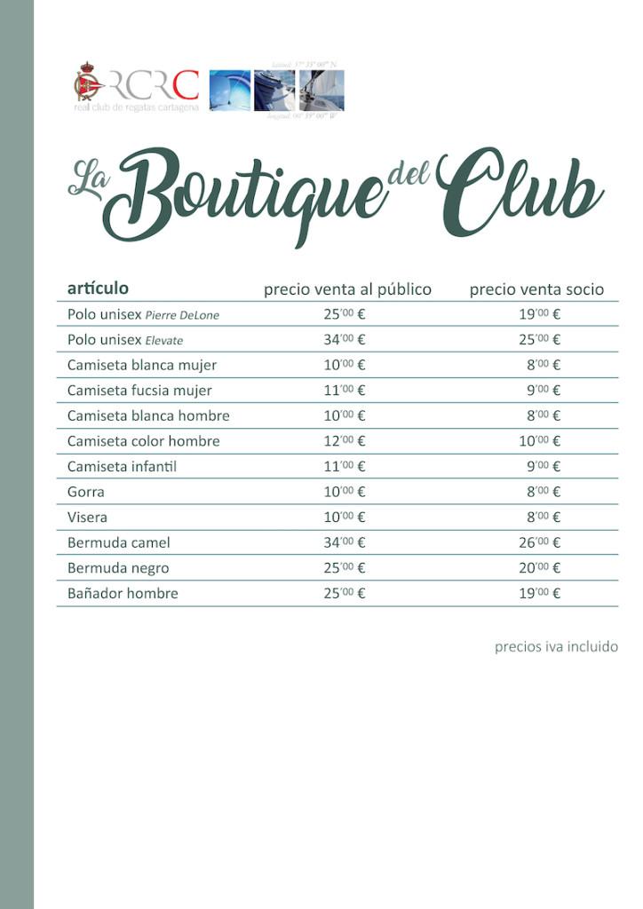 Precios boutique julio 2019