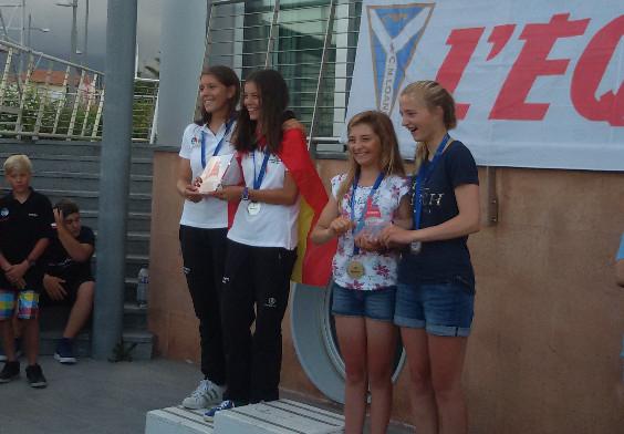Las cartageneras Coello en el podio del Europeo de L'Equipe en Italia. Foto: ©RCR Cartagena